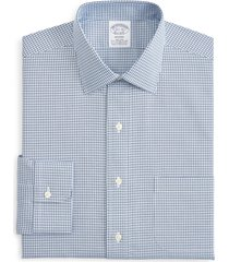 brooks brothers regent regular fit stretch plaid dress shirt, size 16.5 - 33 in blue at nordstrom
