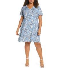 plus size women's maree pour toi floral print fit & flare dress, size 26w - blue