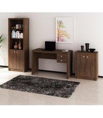 conjunto de escritório com mesa, armário alto e baixo 02 rústico dallas