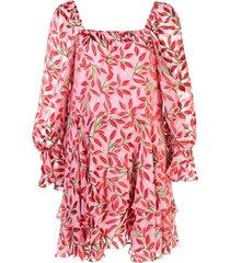 alice+olivia square neck floral print dress - pink