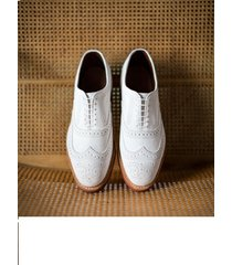 handmade men's oxford white leather with brogue toe dress formal shoes laceup