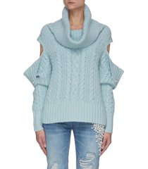 cut out sleeve cowl neck cable knit cashmere sweater