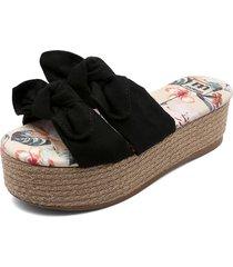 sandalia plataforma negra moleca