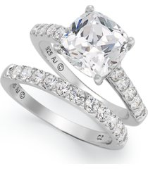 arabella sterling silver ring set, swarovski zirconia bridal ring and band set (8 ct. t.w.)