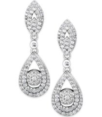 wrapped in love diamond dangling drop earrings in 14k white gold (1 ct. t.w.), created for macy's
