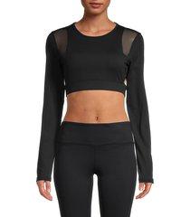 roberto cavalli sport women's performance sheer & cutout crop top - black - size l