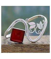 carnelian cuff bracelet, 'arabesque' (india)