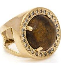 anel banho de ouro olho de tigre e zirconias