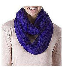 alpaca blend infinity scarf, 'fashionable andes in lapis' (peru)