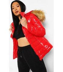 petite glanzende jas met faux fur zoom en capuchon, red