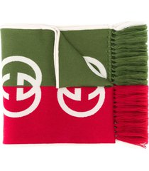 gucci gg print two-toned scarf - green