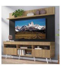 """rack com painel tv 65"""" madri multimóveis rustic/preto com prateleira e pés retrô branco"""