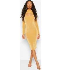 textured slinky slash neck midi dress, gold