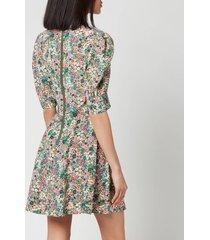 see by chloéwomen's short puff sleeve floral dress - multi - eu 40/uk 12