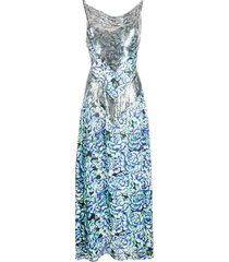 paco rabanne embellished floral dress - blue