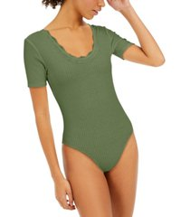 hooked up by iot juniors' lace-trim bodysuit