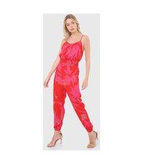 macacão forum jogger floral vermelho/rosa