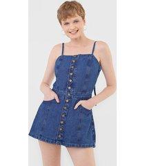 macaquinho jeans cantão jardineira azul