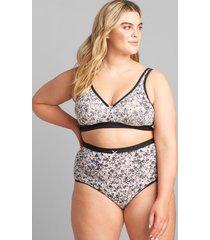 lane bryant women's cotton high-waist brief panty 22/24 bright summer floral