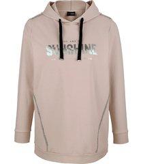 sweatshirt miamoda beige::zilverkleur