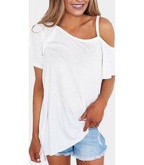 blanco casual one camiseta de manga corta con hombros descubiertos