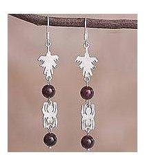 garnet dangle earrings, 'nazca duo' (peru)