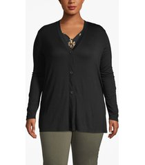 lane bryant women's button-front cardigan 26/28 black