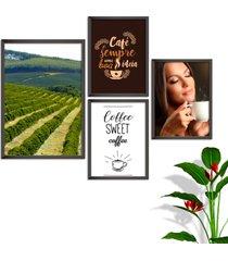 kit conjunto 4 quadro oppen house s frases com cafã© coffe sweet lojas cafeteria xãcaras grã£os moldura preta decorativo interiores    sem vidro - mu