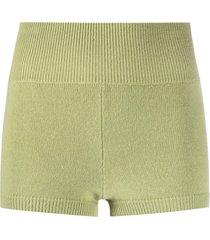 ami amalia ribbed-knit merino wool shorts - green