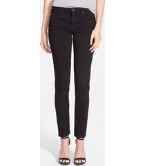 ag 'prima' mid rise cigarette jeans, size 24 in super black at nordstrom