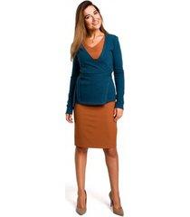 blouse style s173 wikkel vest - oceaan blauw