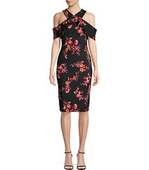 floral cold-shoulder sheath dress