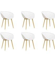 conjunto 06 cadeiras clarice branca - branco - dafiti