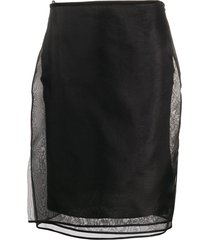 helmut lang sheer multiple layered silk skirt - black