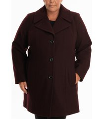 anne klein plus size single-breasted peacoat, created for macy's