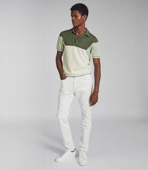 reiss gerrard - colour block polo shirt in fern green, mens, size xxl