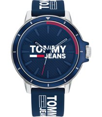 tommy hilfiger tommy jeans blue silicone strap watch 44mm,