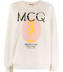 mcq alexander mcqueen graphic print long sleeve sweatshirt - neutrals