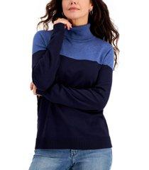 karen scott colorblocked turtleneck sweater, created for macy's