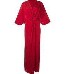 alberta ferretti batwing maxi dress - red