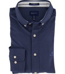 gant overhemd donkerblauw regular fit