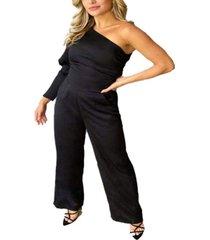 ax paris women's one shoulder puff sleeve jumpsuit