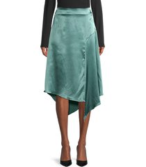 lea & viola women's asymmetric satin skirt - blue - size m