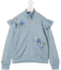 monnalisa lurex-knit zip sweatshirt - blue