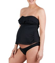 women's cache coeur bloom tankini maternity swimsuit, size xx-large - black