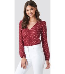 na-kd boho gathered front ls blouse - red