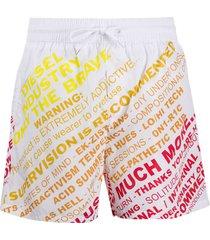 diesel warning print swim shorts - white