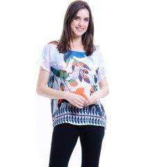 blusa 101 resort wear tunica crepe renda estampada flores bicolor