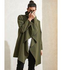 cárdigan de abrigo suelto liso irregular de estilo japonés para hombre