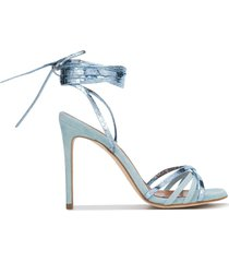 paris texas metallic ankle tied sandals - blue